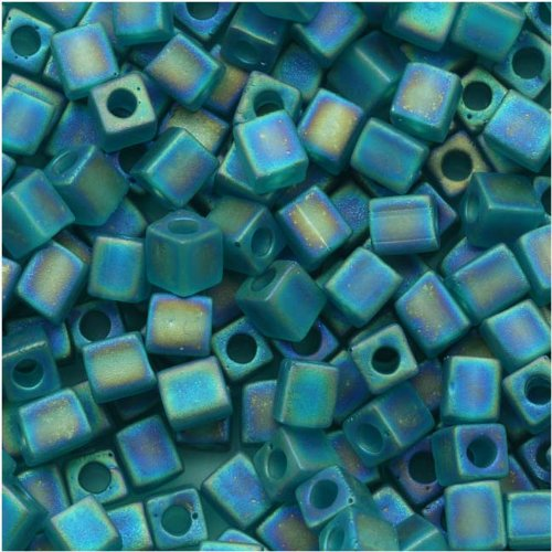 Miyuki 4mm Glass Cube Beads Transparent Frosted Teal AB #2405FR 10 Grams