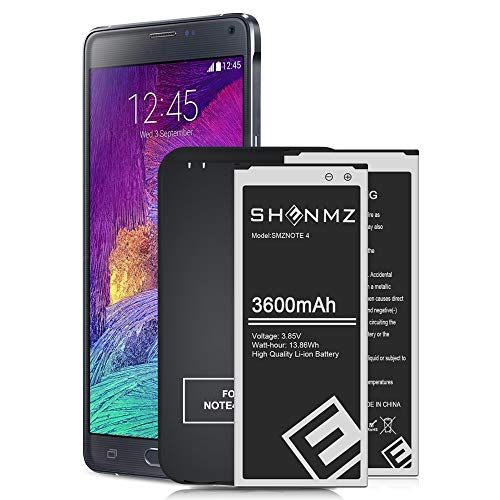 Note 4 Battery Combo,2X 3600mAh Upgraded Li-ion Replacement Batteries with Wall Charger for Samsung Galaxy Note4 N910,N910U LTE,AT&T N910A,Verizon N910V,Sprint N910P,N910T-24 Months Warranty