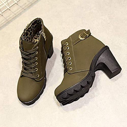 Pelliccia Verde 35 Ankle Bassi Caviglia Stivali Nero Tacco Stivali Autunno Boots Martin Stivaletti Rosso Invernali con 41 Donna wTqZxPYq