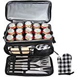 POLIGO 12PCS BBQ Grill Tools Set with 15 Can Black Insulated Waterproof Cooler Bag - Heavy Duty Stainless Steel Grilling Accessories Utensils - Complete Outdoor Grilling Kit - Birthday Gifts for Men
