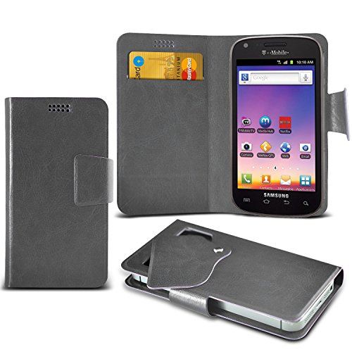 ONX3 Grey Samsung Galaxy S Blaze 4G T769 Super Thin Faux Leather Wallet Flip Suction Pad Skin Case Cover With Credit Debit Cards Slot