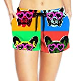 Louise Morrison French Bulldog Pop with Sunglasses Womens Boardshort Swim Trunks Beach Shorts