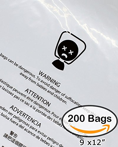 Suffocation Warning Bags 1.5mil FBA Approved Clear Poly Bags, 200 Pack Self-Sealed Strong Adhesive Glue with Vent hole (9x12)