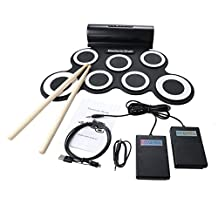 Toworld18 New Digital Electronic Roll-up Portable Mini Drum Pad Set with Built-in Speaker