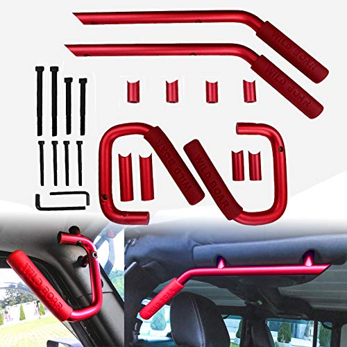 Lyon Red Wild Boar Grab Handle Jeep Wrangler JK 2007-2019 Unlimited Accessories Brushed Hard Steel Solid Front and Rear Door Handle / 4 Doors