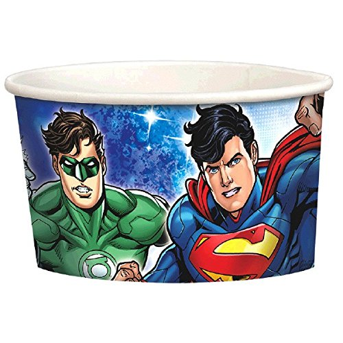 Adventure Filled Justice League Birthday Party Treat Cups, Multi Colored, Paper, 9.5 Ounces, 8-Piece