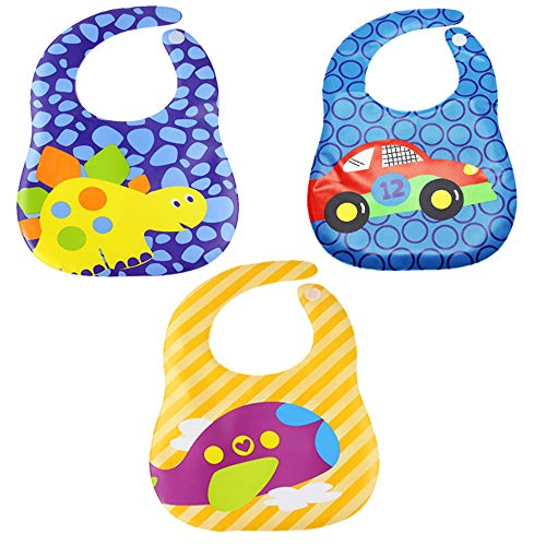 Growth Pal 3 Pack Waterproof Baby Bibs with Adjustable Snaps Easy to Clean Feeding Bibs for Boys-03