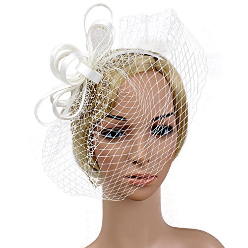 Song Hair Accessories Elegant Women Mesh Birdcage Veil Feather Fascinator Hair Clip For Wedding Church Party (White Polyester Hair Net)