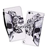 Touch 5/Touch 6 Case, WIITOP Flip for iPod Touch 5/Touch 6 Silicone Magnetic Stand Wallet Phone Cases Card Holder + Free Stylus(Skull)