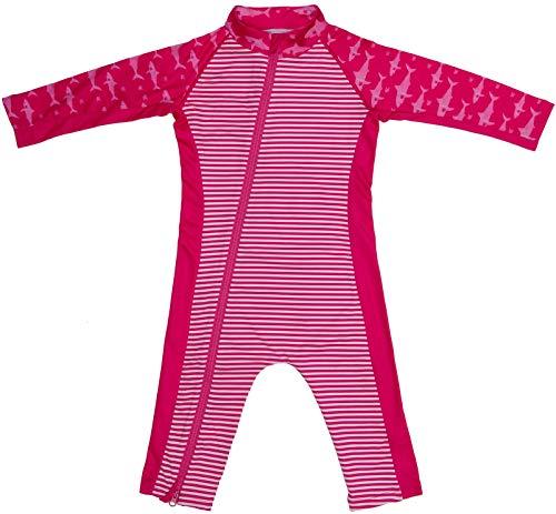 Stonz Premium Rash Guard Rashguard Sun Suit for Active Baby Boy Girl Long Sleeve UPF 50+ Swim Suit Top Sun Protection for Beach Pool Play, Pink Shark 0-6 Months (Hooded Long Sleeve Hat)
