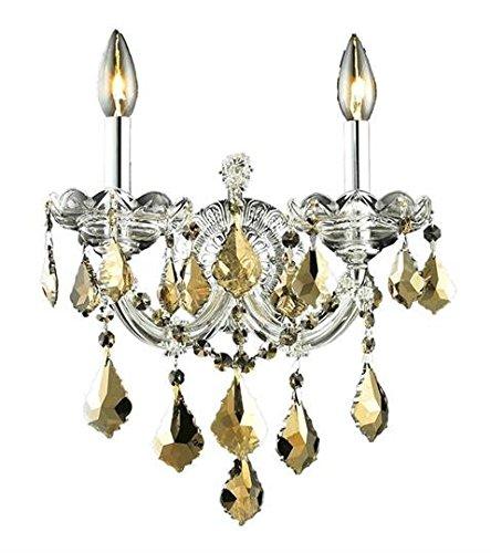 (Karla Chrome Traditional 2-Light Wall Sconce Swarovski Elements Crystal in Golden Teak -2380W2C-GT-SS--48