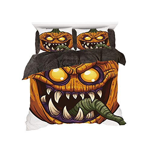 iPrint Comfortable Bed Sheet Set with Bedding Pillow Case Cover for Bed Width 6ft Pattern by,Halloween,Scary Pumpkin Monster Evil Character with Fangs Aggressive Cartoon,Purple Orange Dark Green for $<!--$98.88-->