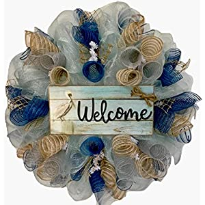 Colors of the Sea Welcome Coastal Wreath Handmade Deco Mesh 46