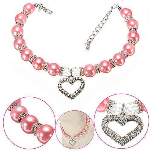 (Glumes Pet Collar Cute Diamond Heart Pearls Cat Dog Necklace Bling Rhinestone Chocker Safe Buckle Adjustable Necklace for Dogs Cats Small Pets Best Christmas Birthday Gift for Puppy Cats)
