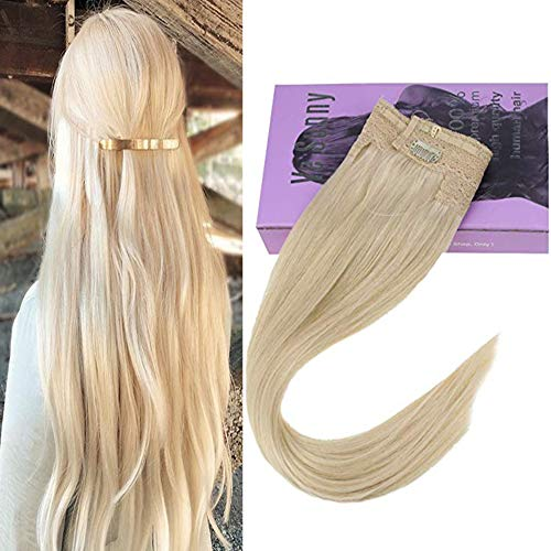 VeSunny 12inch Halo Hair Extensions Human Hair Blonde Color #60 Platinum Blonde Remy Halo Extensions Real Human Hair 11inch Width 80G/Set