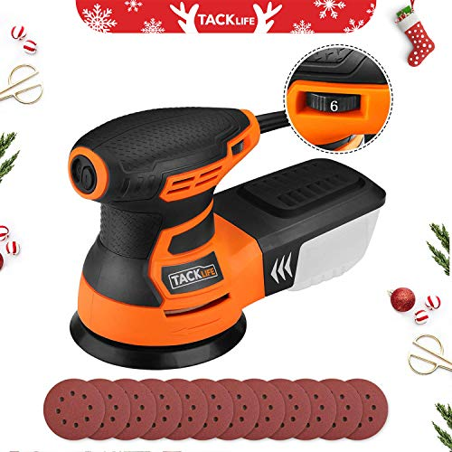 Random Orbit Sander, Tacklife 5-Inch 6 Variable Speed 3.0A/13000RPM Sander with 12Pcs Sandpapers, High Performance Dust Collection System, 9.84Ft(3M) Power Cord, Ideal for DIY, Decoration - PRS01A