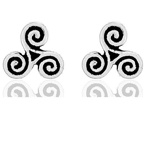 DTPsilver - Boucles d'oreilles Femme en Argent Fin 925 en forme de Celtique Triskel - Fermoir clou