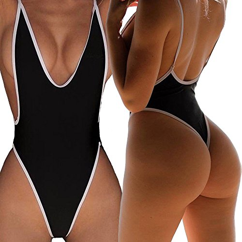 Women One Piece Bikini Monokini Swimsuit Padded Backless Swimwear S - 6