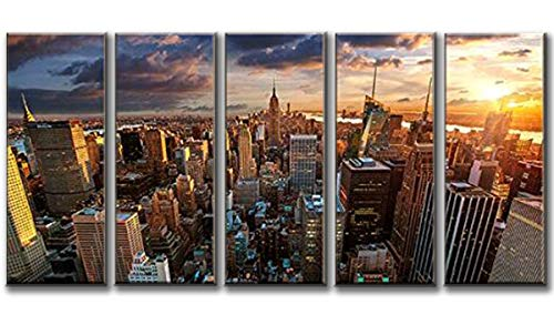 Nyc Art (ART New York Sundown Canvas Print, Large Wall City Landscape, Extra Large Cityscape Big Apple New York Wall Print - 60x32 Inch Total)