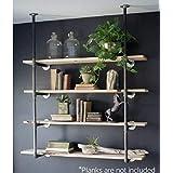 Industrial Retro Wall Mount Iron Pipe Shelf Hung Bracket Diy Storage Shelving Bookshelf (2PCS-a pack)