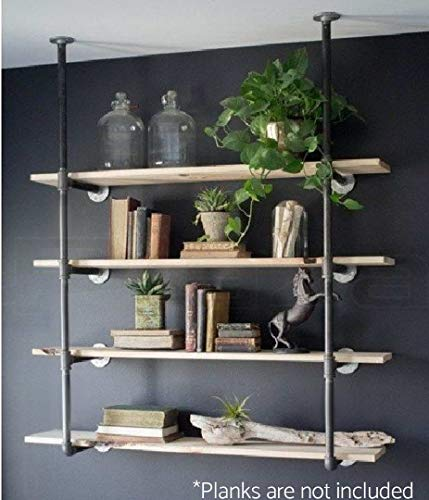 Industrial Retro Wall Mount Iron Pipe Shelf Hung Bracket Diy Storage Shelving Bookshelf (2 pcs) ()