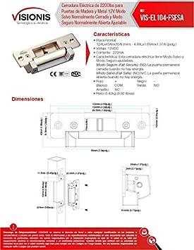 Amazon.com: Visionis VIS-EL104-FSESA Cerradura Eléctrica de 2200lbs para Puertas de Madera y Metal Modo Salvo Normalmente Cerrada y Modo Seguro Normalmente ...