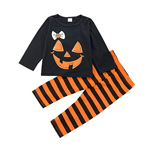 Kids Toddler Baby Girl Boy Halloween Clothes Outfit Pumpkin Face T-Shirt + Striped Pants (Black, 110/4-5 Years) -