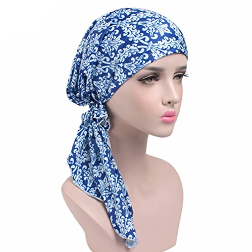 1cefc3b5a03 Womens Head Scarf Pre Tied Chemo Hat Beanie Sleep Turban Headwear for Cancer