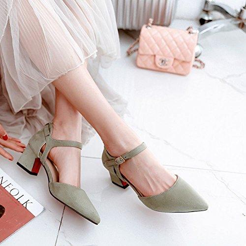 Mee Shoes Damen Chunky Heels Nubukleder Spitz Pumps Hellgrün