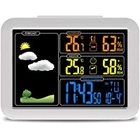 Color Screen Weather Clock Indoor and Outdoor Digital Calendar Clock Thermometer and Hygrometer White (Color : White…
