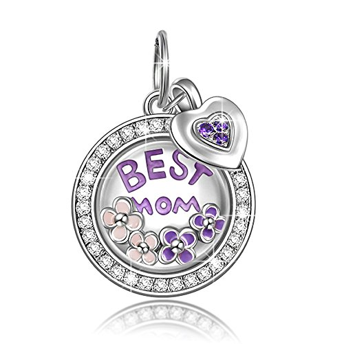 Mom Locket Best (NINAQUEEN Best Mom Locket Charms 925 Sterling Silver Dangle Charms for Bracelet Pendant for Mothers Day Necklace Jewelry Gifts For Mom Birthday Anniversary Gifts For Her Wife Aunts Daughter)