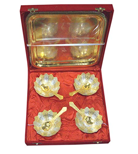 Indian Accent Silver and Gold Plated Brass Bowls Set (4 Bowl: 4 Spoon: 1 Tray) (Floral Shaped) ()