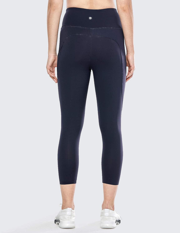 CRZ YOGA Donna Leggings Fitness Running Pantaloni Sportivi Capri Vita Alta con Tasca Laterale 48cm