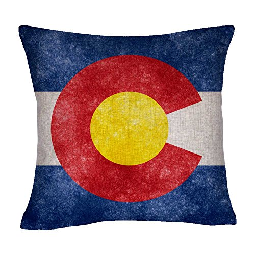 DECOPOW Retro Style US State Flag Pillow Cover, State Flag Throw Pillow Covers (Colorado)