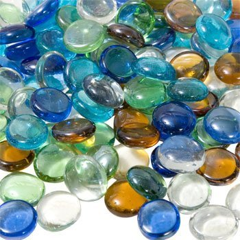 Crafters Square Mixed-Color Glass Accent Gems, 2-14-oz. Bags