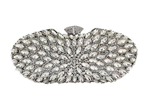 Yilongsheng Señoras el deslumbrante bolsos grandes con moldeadas brillantes piedras de cristal plata
