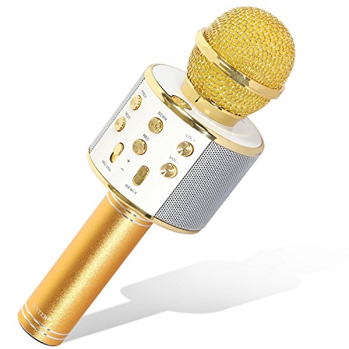 TONOR Karaoke Microphone, Portable Handheld Wireless Bluetooth Mic for Home Party Birthday Speaker Machine Compatible with iPhone/Android/iPad/Sony, PC and All Smartphone, Gold by TONOR
