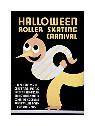 (The Art Stop Sport Roller Skating Halloween Chicago USA Vintage Print)