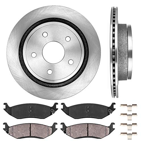 - REAR 352 mm Premium OE 5 Lug [2] Brake Disc Rotors + [4] Ceramic Brake Pads + Clips