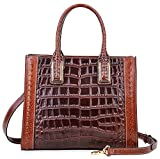 PIJUSHI Women Top Handle Satchel Handbags Designer Leather Tote Bag 27010(Brown Croco)