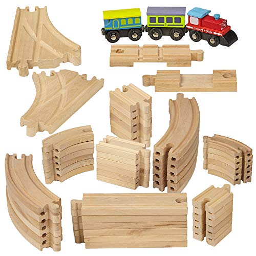 Dragon Drew Wooden Train Tracks - 55 Piece - Compatible with Brio, Thomas, Chuggington and All Major Brands - Accessories and Expansion Kit Includes 52 Tracks and 3 Cute Cars