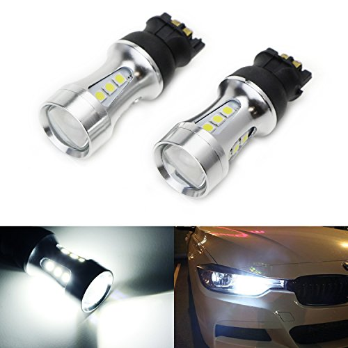 iJDMTOY (2) Extremely Bright Xenon White Error Free PW24W LED Bulbs For 2012-2015 BMW F30 3 Series Halogen Headlight Trims or 2015-up Volkswagen MK7 Golf GTi Projector Headlamp Daytime Running Lights ()