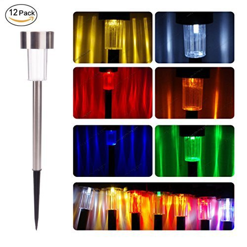 Me 12 Packs Color Changing Led Solar Garden Path Lights Low Voltage Stainless Steel Outdoor For