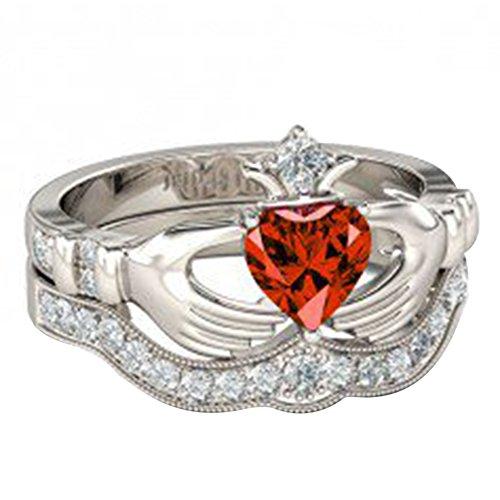 Shape Garnet Wedding Set (TVS-JEWELS Heart Shape Red Garnet & Round White CZ 925 Silver Platinum Plated Bridal Claddagh Ring (9))