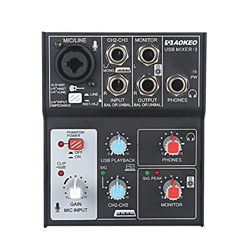 Mixer Power Supply (Aokeo Sound Card Audio Mixer, USB Audio Interface, 48V Phantom Power Supply For Condenser Mic - Record On The Computer/Laptop/Macbook/Etc. (Mixer - 3))