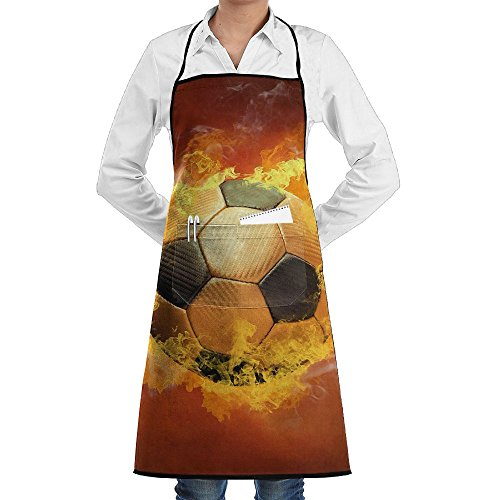 Kitchen Bib Apron Neck Wasit Tie Center Kangaroo Pocket Fire Soccer Football Waterproof by Kla Ju