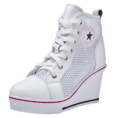 White High Wedge - Padgene Women's Sneaker High-Heeled Fashion Canvas Shoes High Pump Lace up Wedges Side Zipper Shoes (7-7.5 US, White 5)