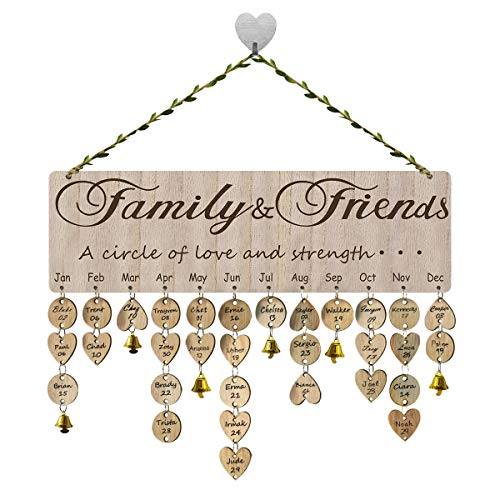 FamGift Birthday Calendar Wall Hanging Plaque DIY Gift Decor Board,Gifts for Moms Dads,Anniversary, Wooden Crafts Home Decoration.