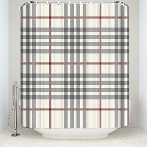 Plaid Curtain Bed (Rustic Grey Ivory Red Buffalo Check Plaid Polyester Fabric Bathroom Shower Curtain 72x84inch)