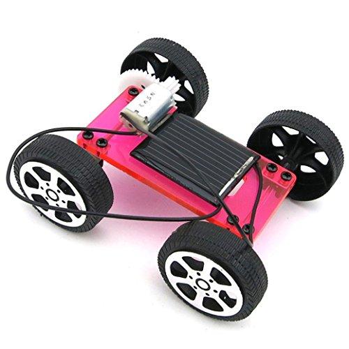 Lookatool 1 Set Mini Solar Powered Toy DIY Car Kit Children Educational Gadget Hobby Funny, red